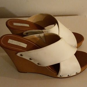 Jessica Simpson Shoes - JESSICA SIMPSON Jozie White Wide Band Wedges 8.5M